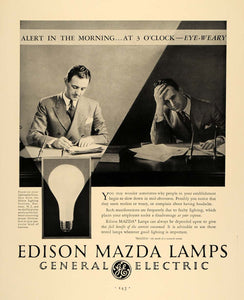 1930 Ad Edison Mazda Lamps General Electric Lighting - ORIGINAL ADVERTISING F3A