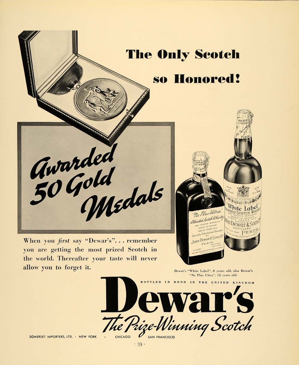 1935 Ad Dewar's White label Ne Plus Ultra Whisky Drink - ORIGINAL F3A