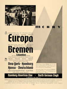 1935 Ad Hamburg-American Line Cruise Vacation New Year - ORIGINAL F3A