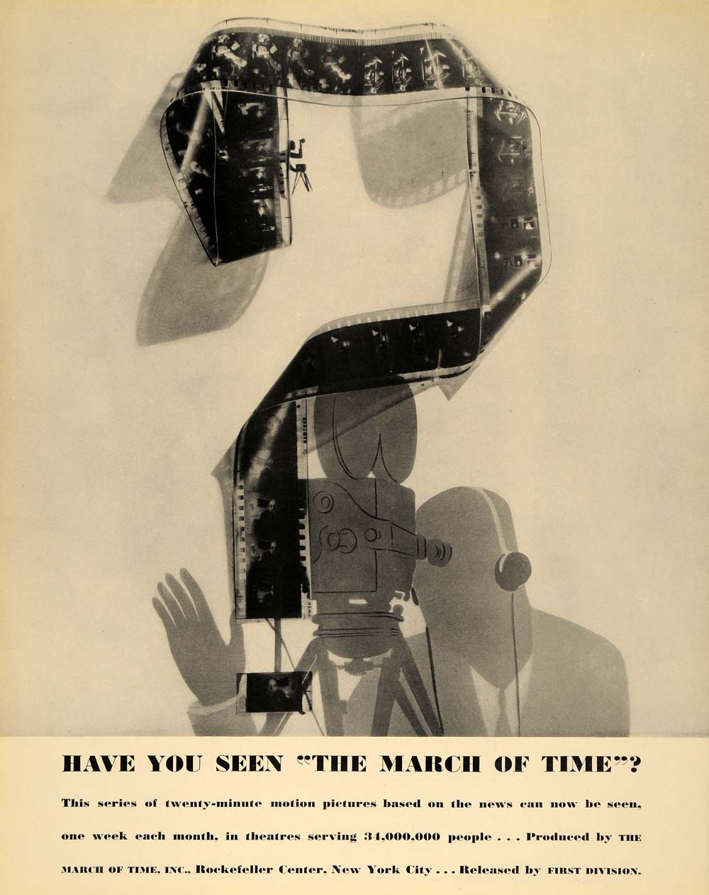 1935 Ad March of Time Newsreel Illustration Film Roll - ORIGINAL ADVERTISING F3A