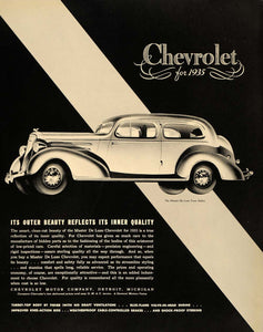 1935 Ad Chevrolet Master De Luxe Town Sedan Automobile - ORIGINAL F3A