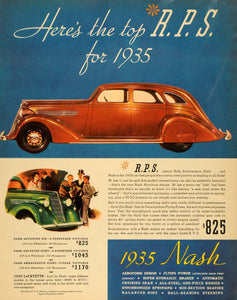 1935 Ad Nash Advanced Six Automobile Illustration Car - ORIGINAL ADVERTISING F3A