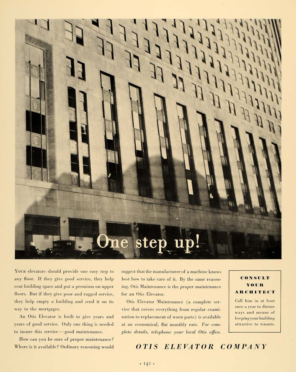 1935 Ad Otis Elevator Manufacturer Maintainer Building - ORIGINAL F3A - Period Paper