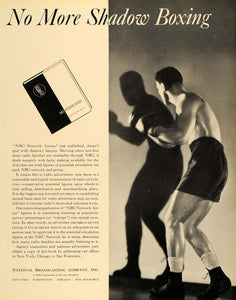 1935 Ad National Broadcasting Radio Boxing Sport NBC - ORIGINAL ADVERTISING F3A