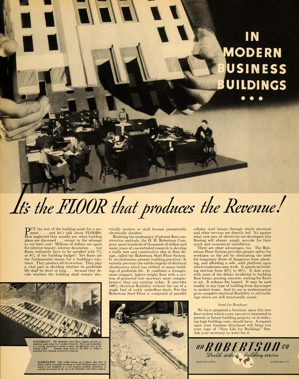 1935 Ad Construction Robertson Floor Business Buildings - ORIGINAL F3A