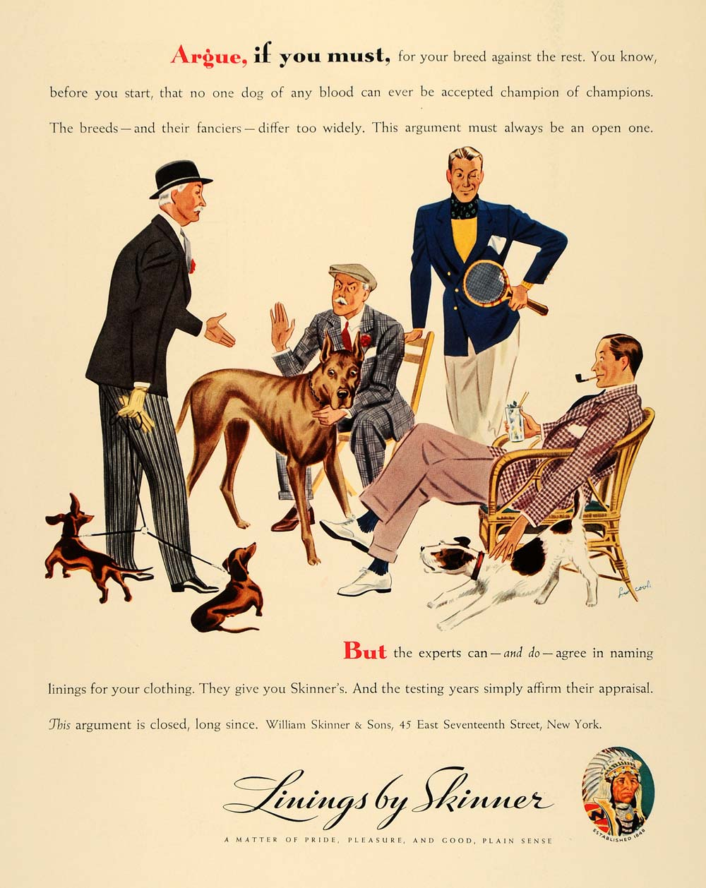 1935 Ad Clothing Lining William Skinner Dogs Breed Sons - ORIGINAL F3A