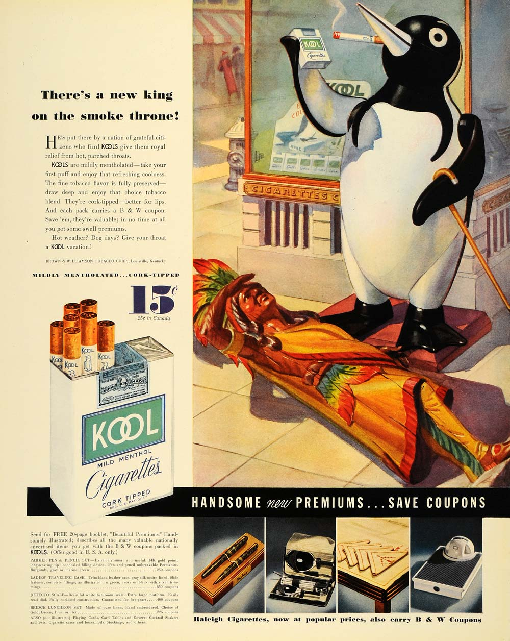 1935 Ad Willy Tobacco Kool Cigarette Penguin - ORIGINAL ADVERTISING F3A