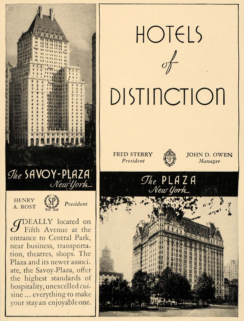 1930 Ad Savoy Plaza Hotel Plaza Luxury Lodging Suites - ORIGINAL ADVERTISING F3B