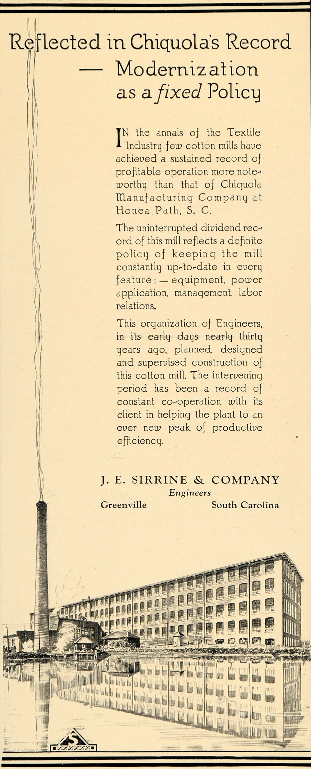 1930 Ad J E Sirrine Engineers Industry Greenville SC - ORIGINAL ADVERTISING F3B