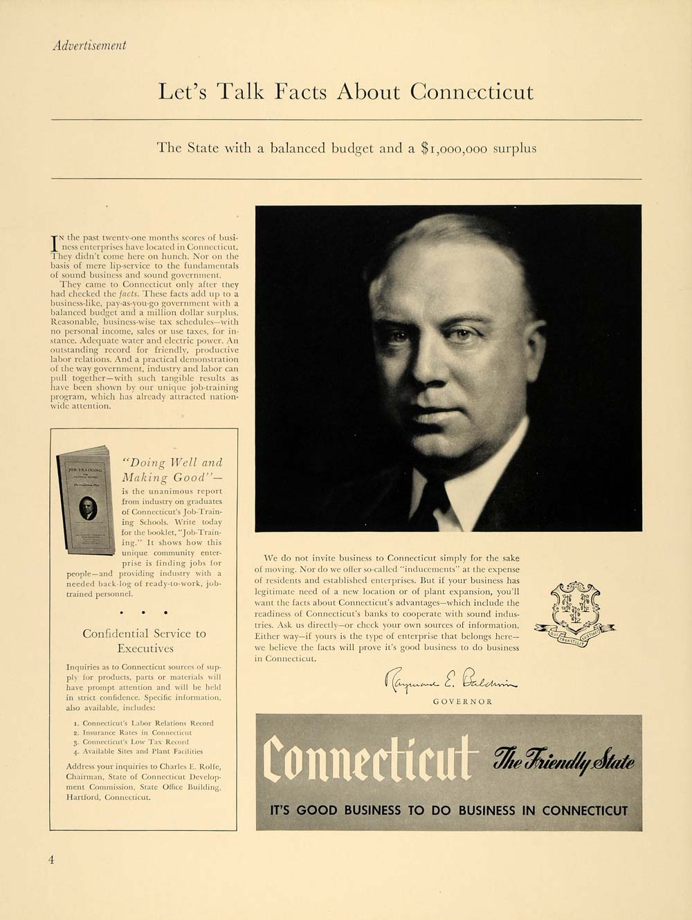 1940 Ad Connecticut State Raymond Baldwin Industry - ORIGINAL ADVERTISING F4A