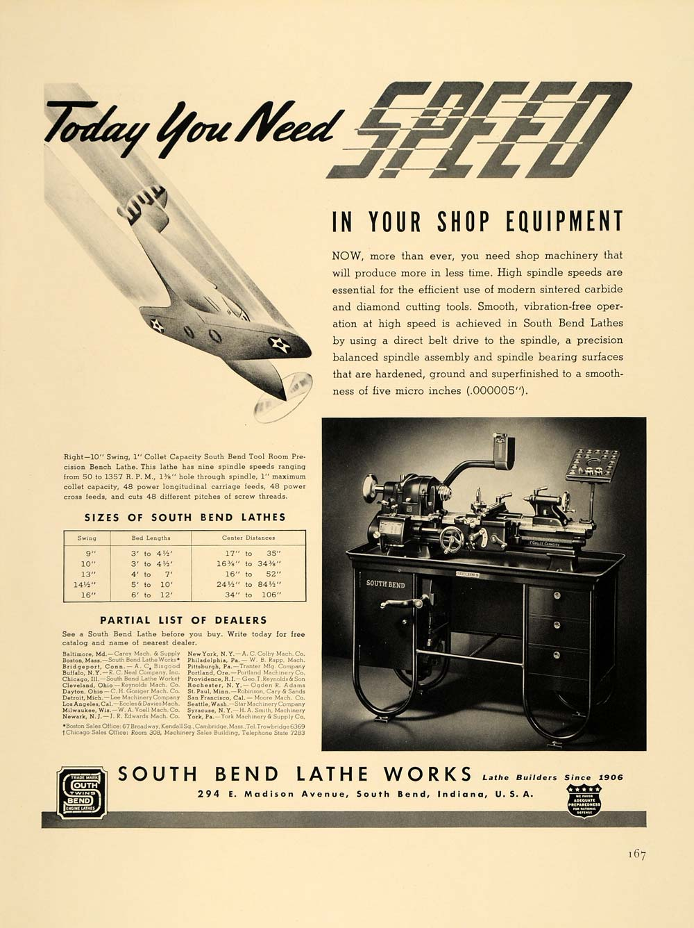 1940 Ad South Bend Lathe Works Airplane Machinery Tools - ORIGINAL F4A