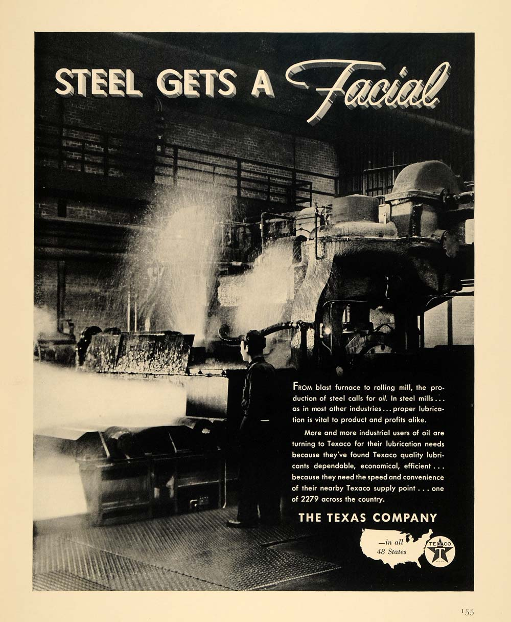1940 Ad Texaco Oil Steel Production Blast Furnace Texas - ORIGINAL F4A