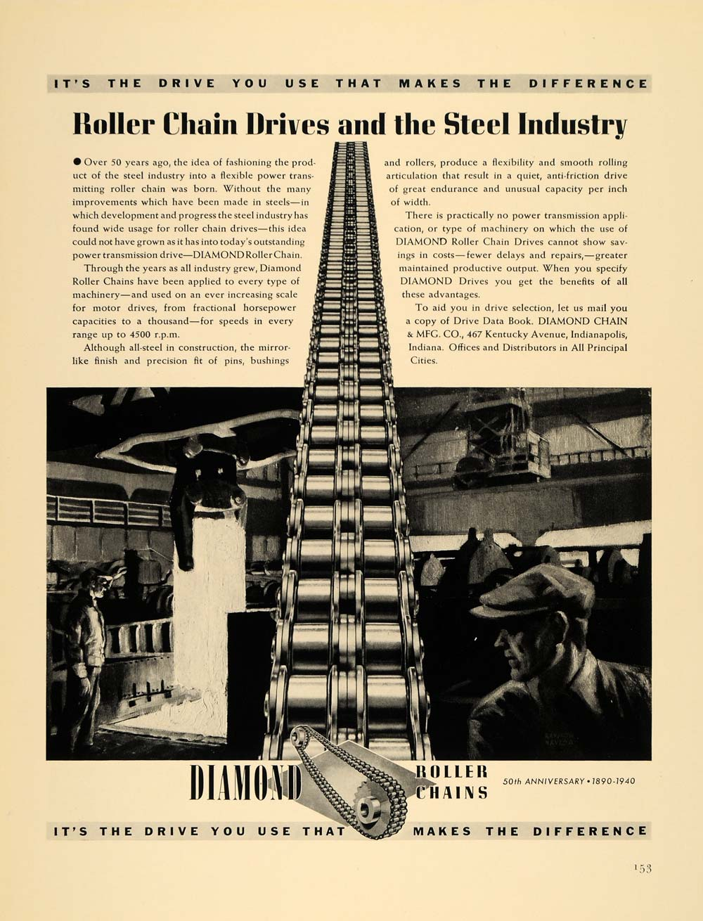 1940 Ad Diamond Roller Chain Manufacturing Illustration - ORIGINAL F4A
