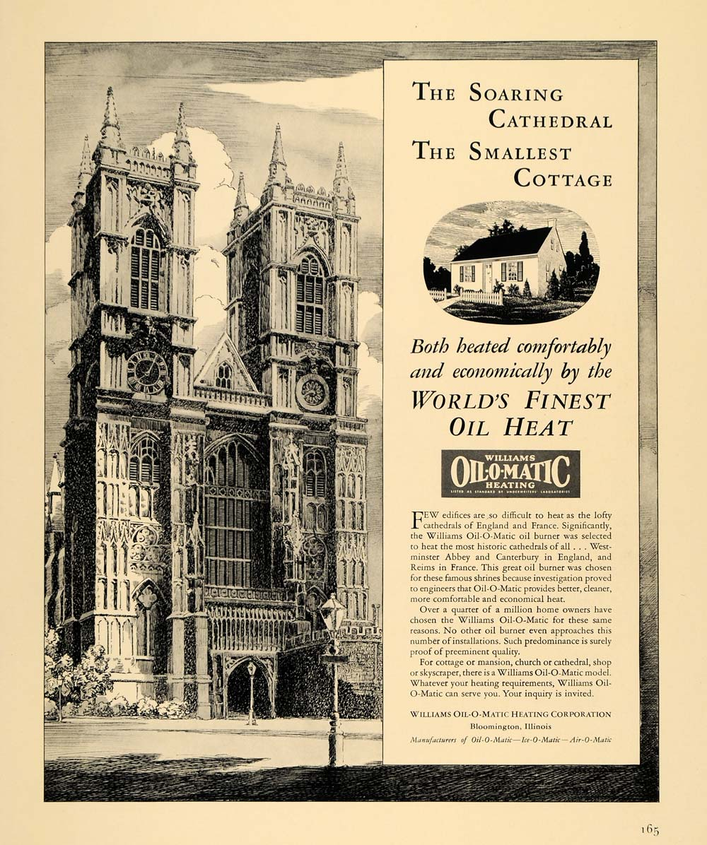 1940 Ad Williams Oil-O-Matic Heating Soaring Cathedral - ORIGINAL F4A