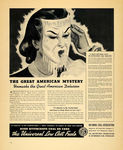1940 Ad National Coal Association Product Heat Mask - ORIGINAL ADVERTISING F4A