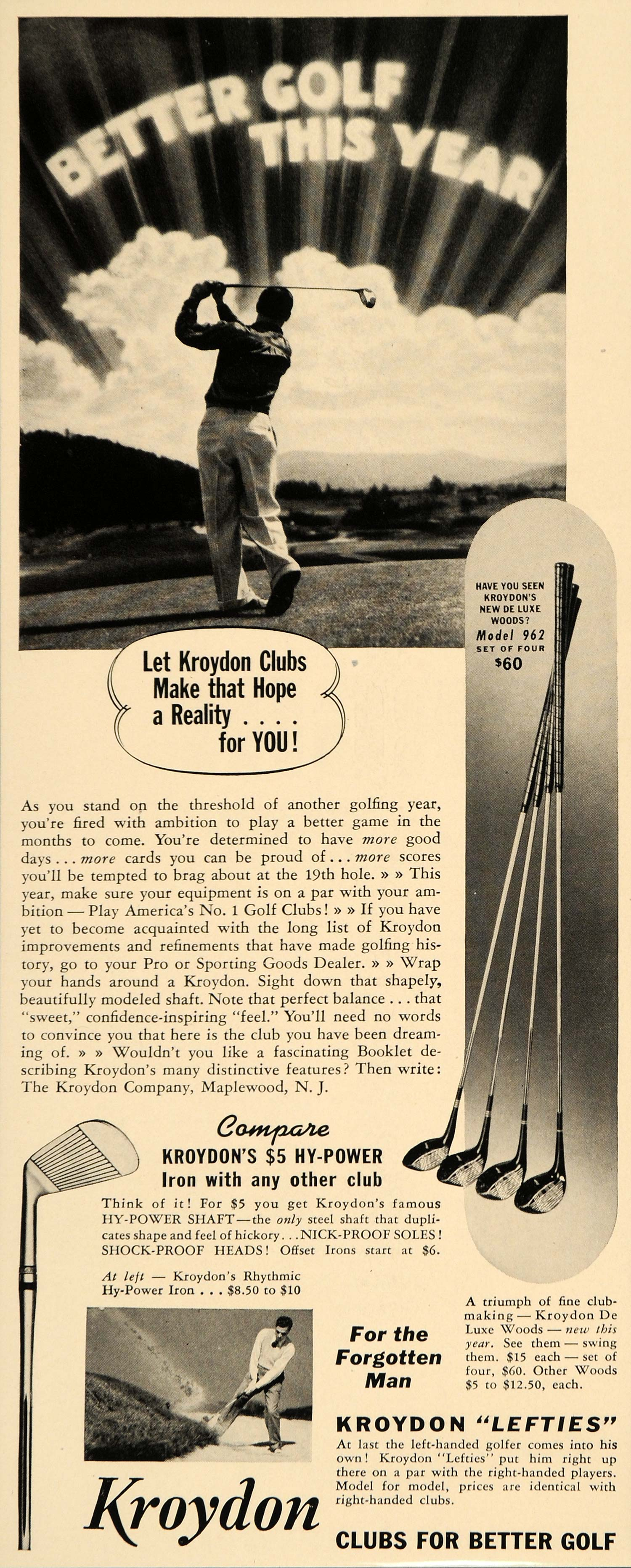 1940 Ad Kroydon Lefties Golf Clubs Hy-Power Iron Swing - ORIGINAL F4B