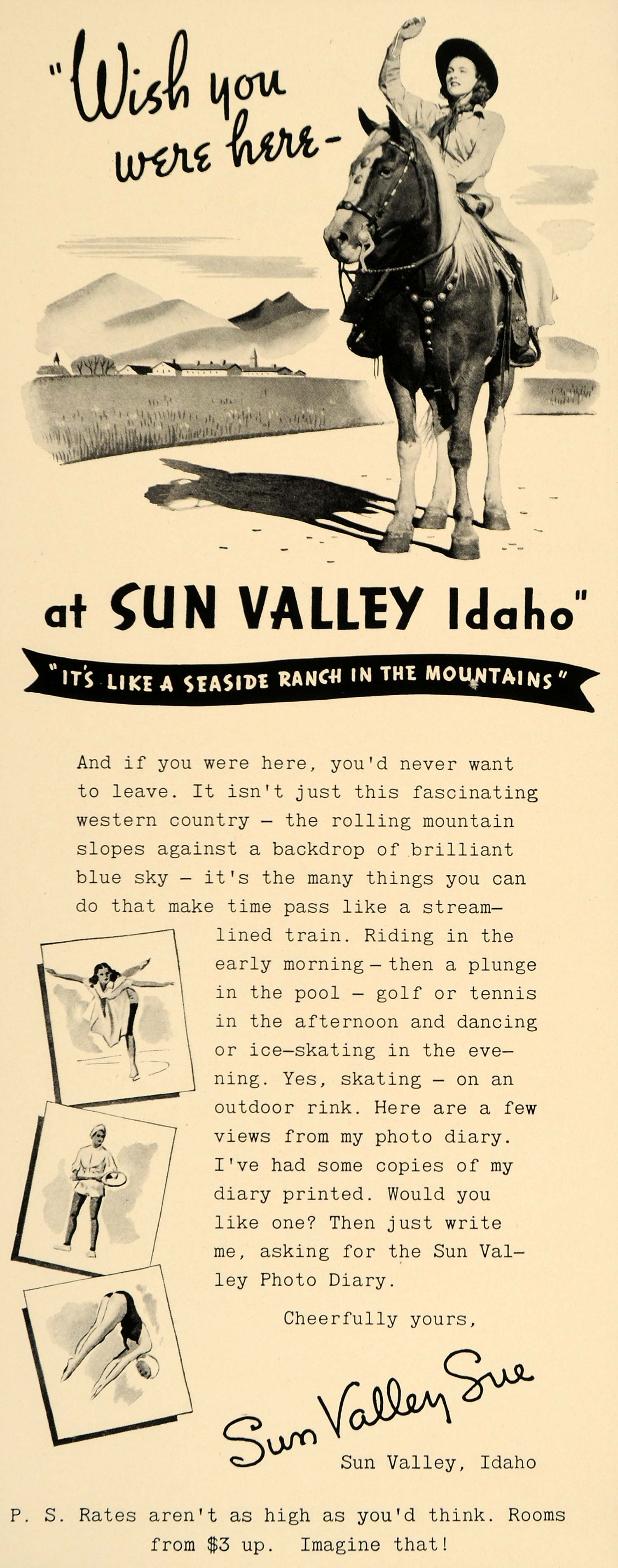 1940 Ad Sun Valley Sue Idaho Seaside Ranch Horse Riding - ORIGINAL F4B