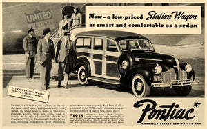 1940 Ad Pontiac Station Wagon United Air Lines Pricing - ORIGINAL F4B