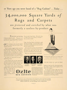 1932 Ad Ozite Rug Cushion Wilde Regensburg Wallin - ORIGINAL ADVERTISING F5A