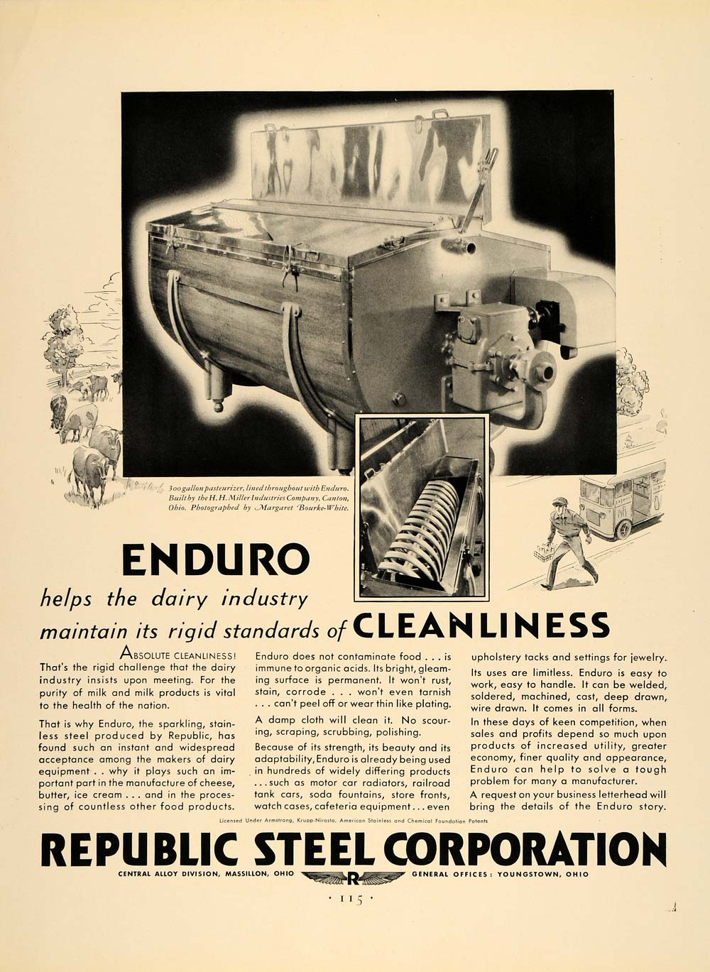 1932 Ad Republic Steel Canton Pasteurizer Milk Alloy - ORIGINAL ADVERTISING F5A