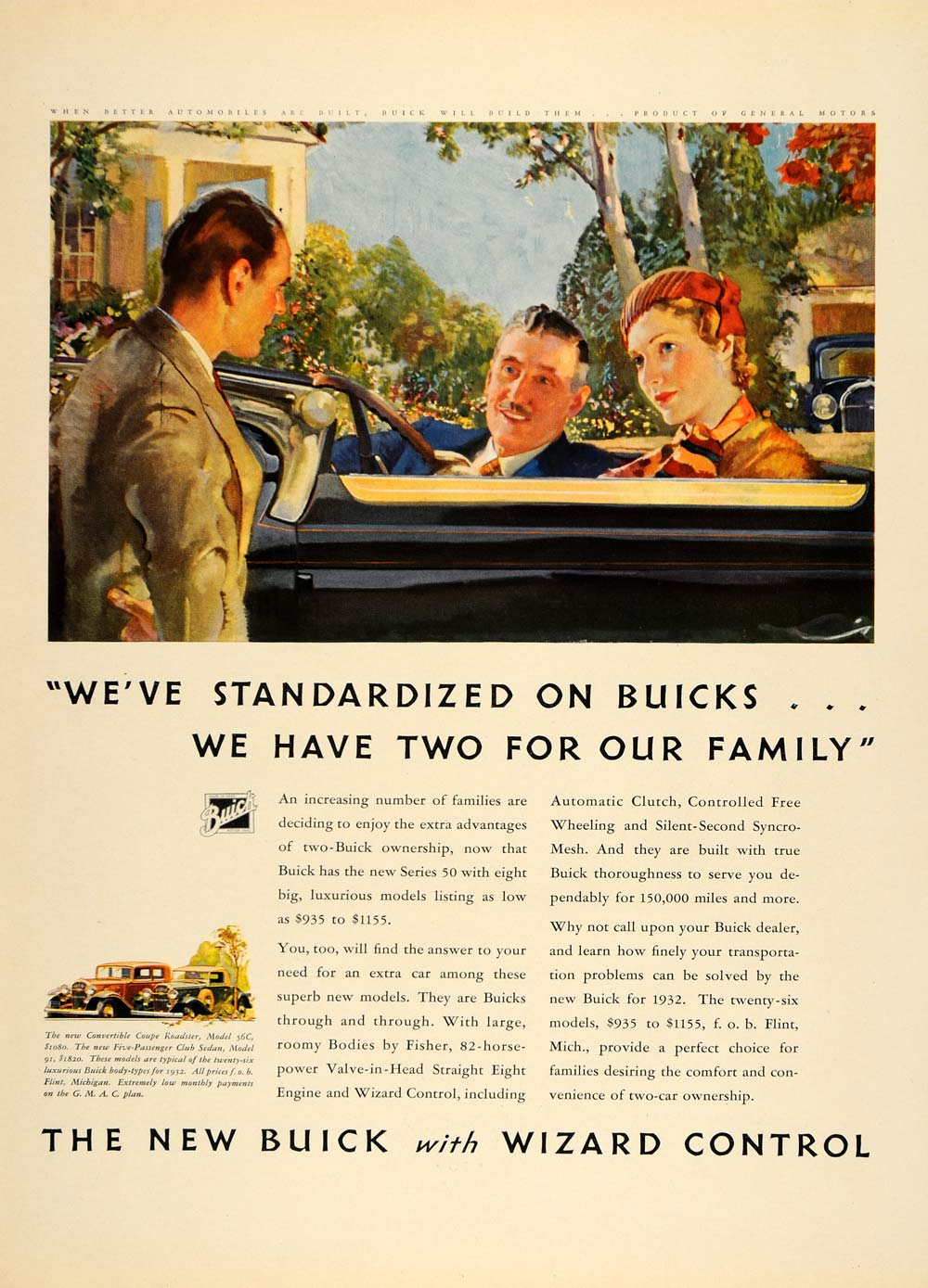 1932 Ad Buick Wizard Control Automobile Fashion Coupe - ORIGINAL ADVERTISING F5A