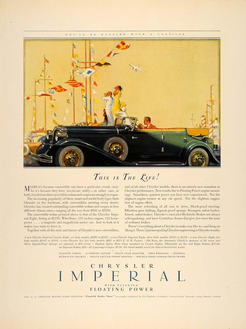 1932 Ad Chrysler Imperial Automobile Convertible Car - ORIGINAL ADVERTISING F5A