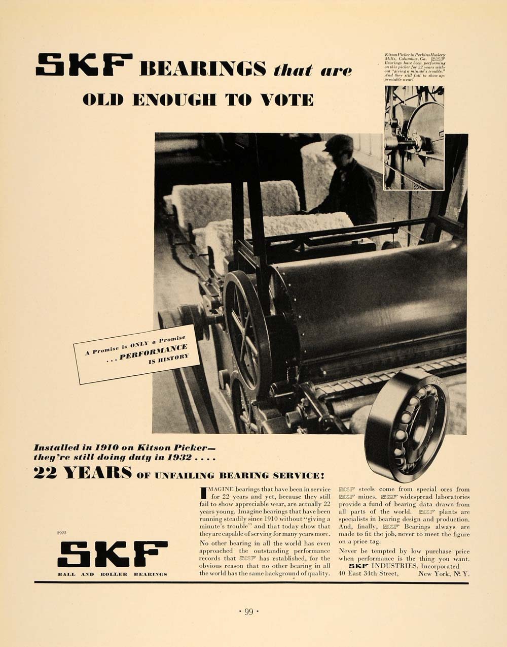 1932 Ad SKF Ball Roller Bearings 1910 Kitson Picker - ORIGINAL ADVERTISING F5A