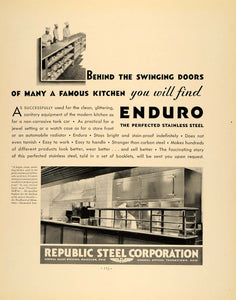 1932 Ad Enduro Stainless Steel Republic Kitchen Ware - ORIGINAL ADVERTISING F5A