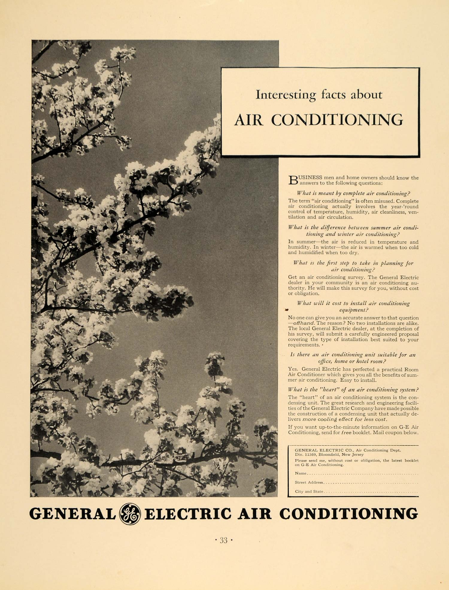 1936 Ad General Electric Air Conditioning Cherry Tree - ORIGINAL ADVERTISING F5A