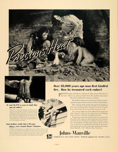 1936 Ad Johns-Manville Products Heating Primitive Man - ORIGINAL ADVERTISING F5A