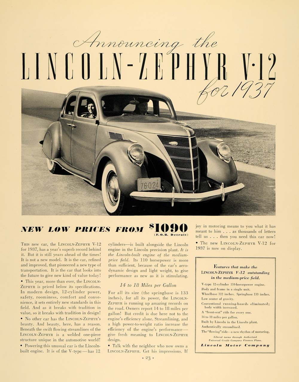 1936 Ad Lincoln Motors Zephyr V-12 Automobile For 1937 - ORIGINAL F5A