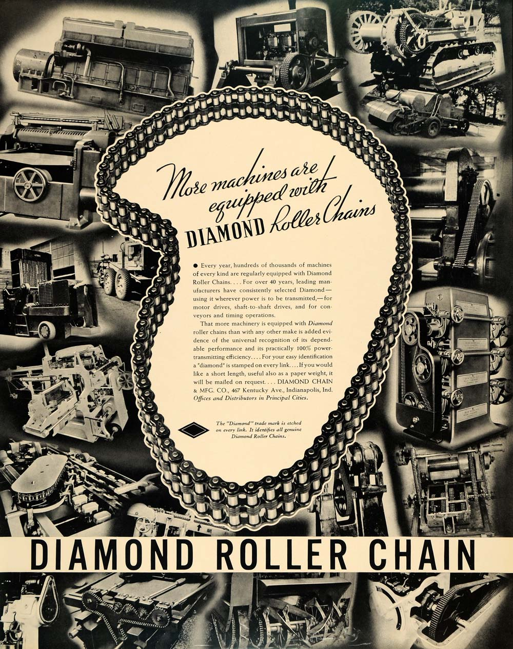 1936 Ad Diamond Roller Chain Machinery Motor Metal - ORIGINAL ADVERTISING F5A