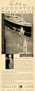 1932 Ad Italian Line Augustus World Cruise Ship Bali - ORIGINAL ADVERTISING F5B