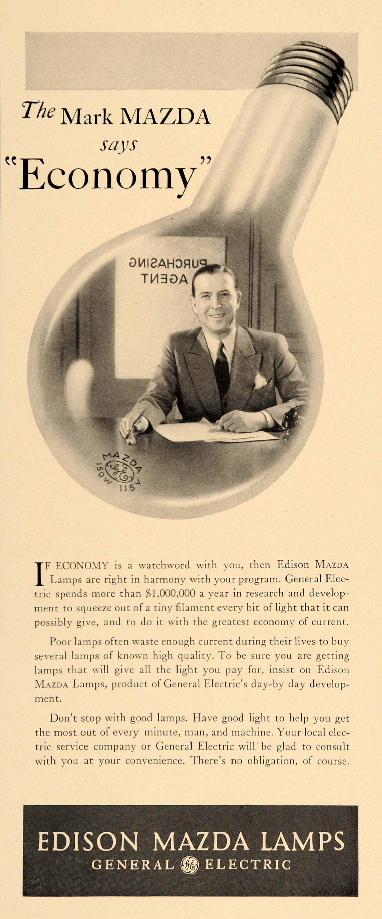 1932 Ad General Electric Co. Logo Mark Mazda Businessman Light Bulb Lamps OH F5B