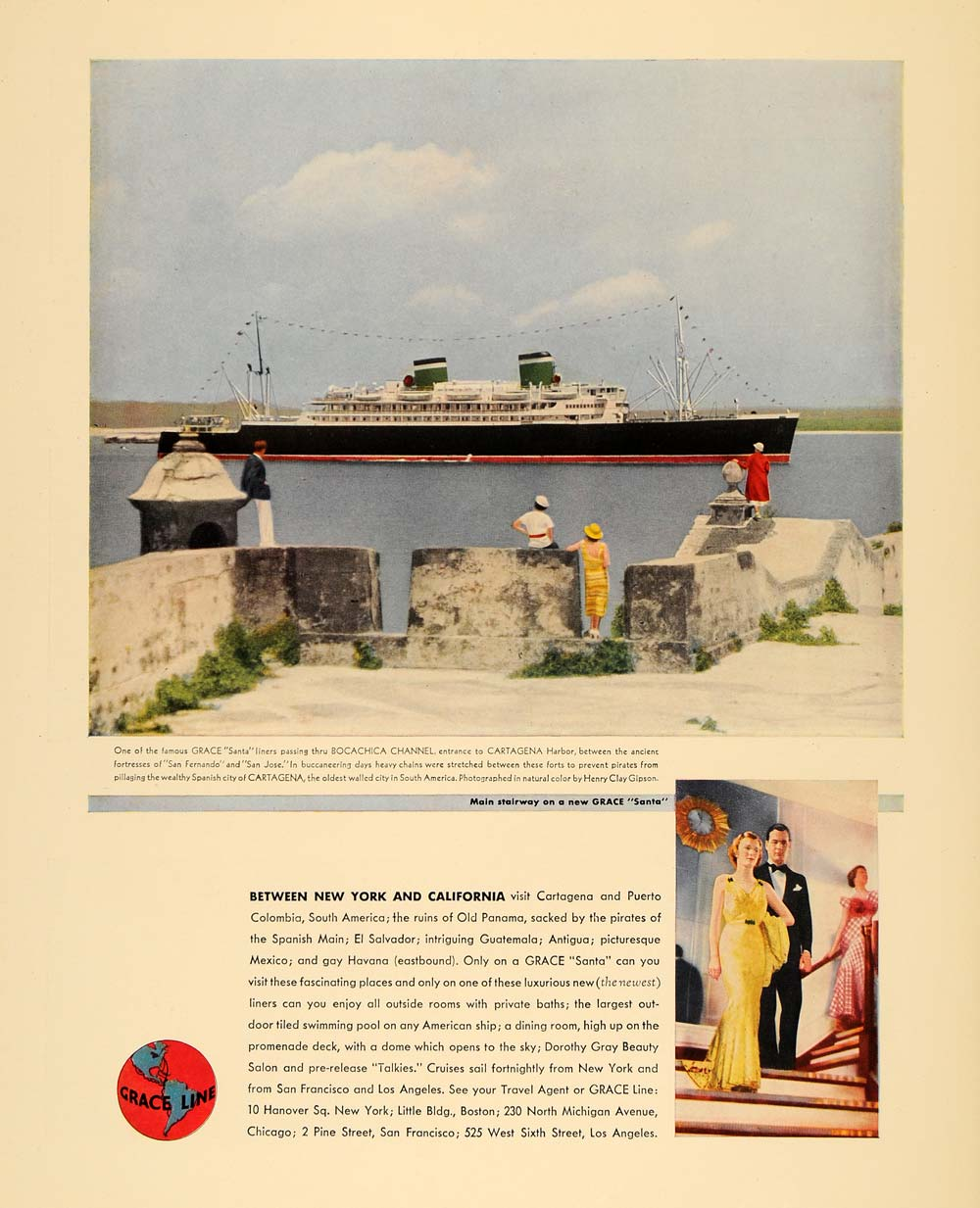 1935 Ad Grace Santa Cruise Line Ship Henry Clay Gipson - ORIGINAL F6A