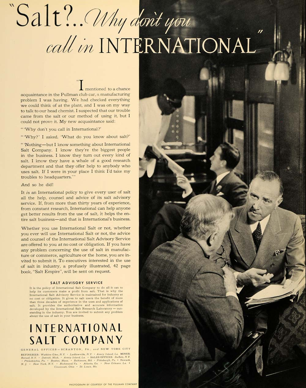 1935 Ad International Salt Pullman Club Car Train - ORIGINAL ADVERTISING F6A