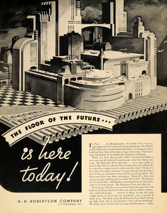 1935 Ad H.H. Robertson Steel Floor Architecture Airport - ORIGINAL F6A