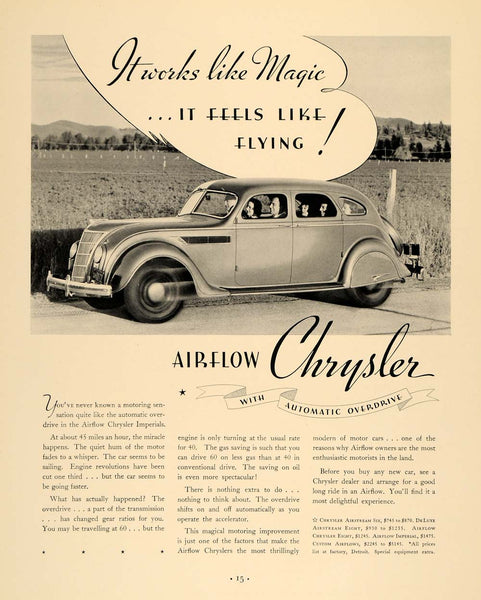 1935 Ad Chrysler Airflow Imperial 8 DeLuxe Airstream - ORIGINAL ADVERTISING  F6A f7557d5d6c22
