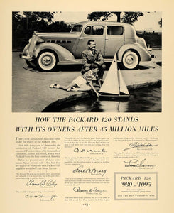 1935 Ad Packard 120 Antique Toy Sail Boat Testimonies - ORIGINAL ADVERTISING F6A