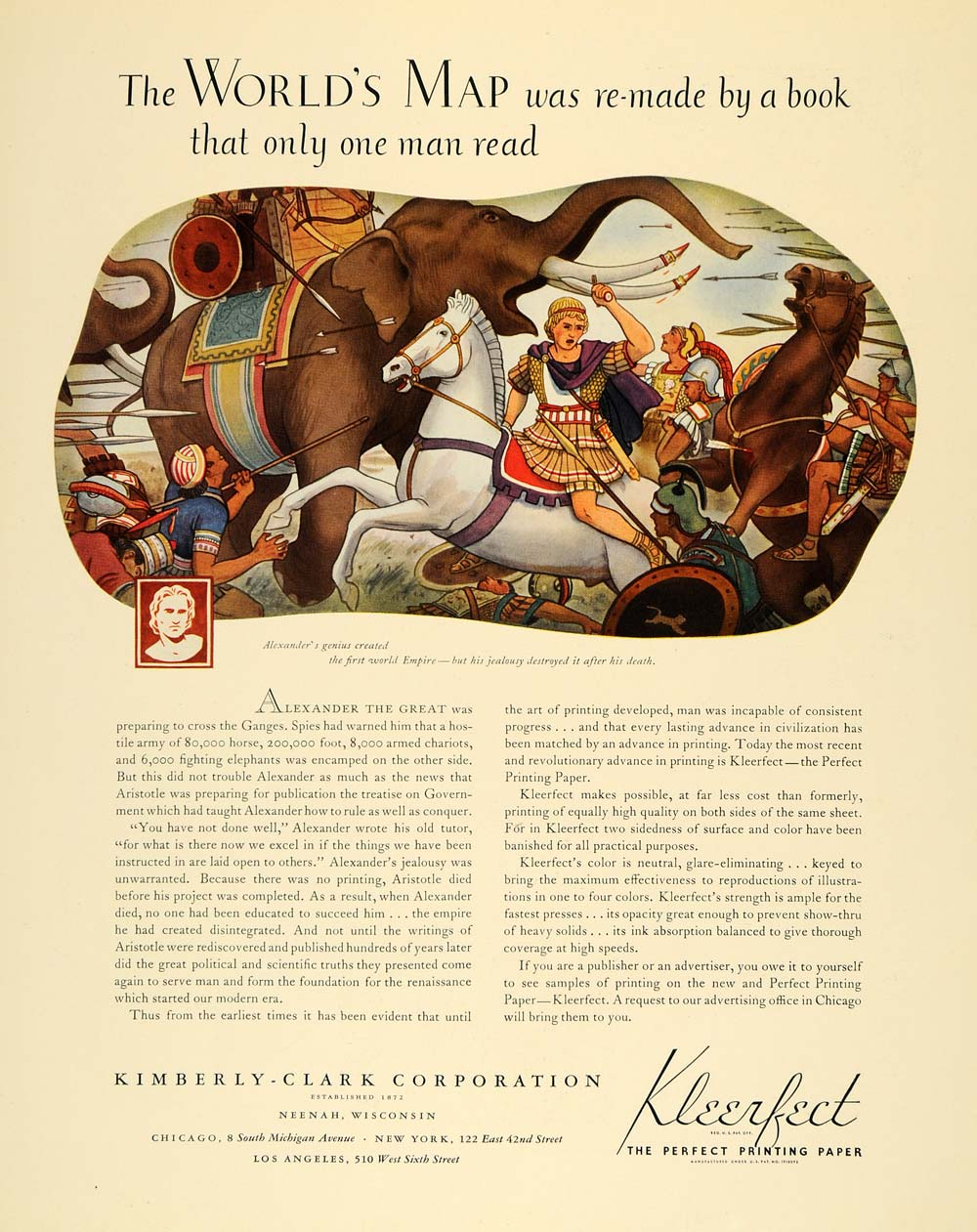 1935 Ad Kimberly Clark Kleerfect Paper Alexander Empire - ORIGINAL F6A