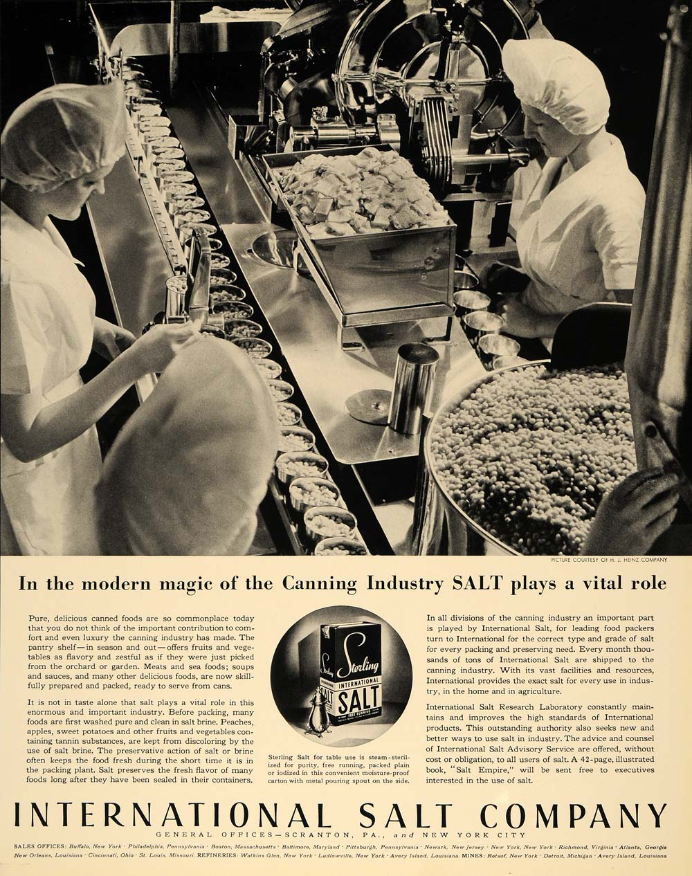 1936 Ad International Salt Canning Industry Sterling - ORIGINAL ADVERTISING F6A