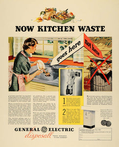 1936 Ad General Electric Disposal Kitchen Garbage Waste - ORIGINAL F6A