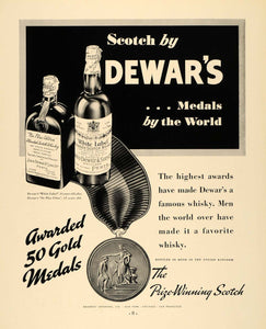 1935 Ad Dewars Gold Medals Prize Winning Scotch Whisky - ORIGINAL F6A