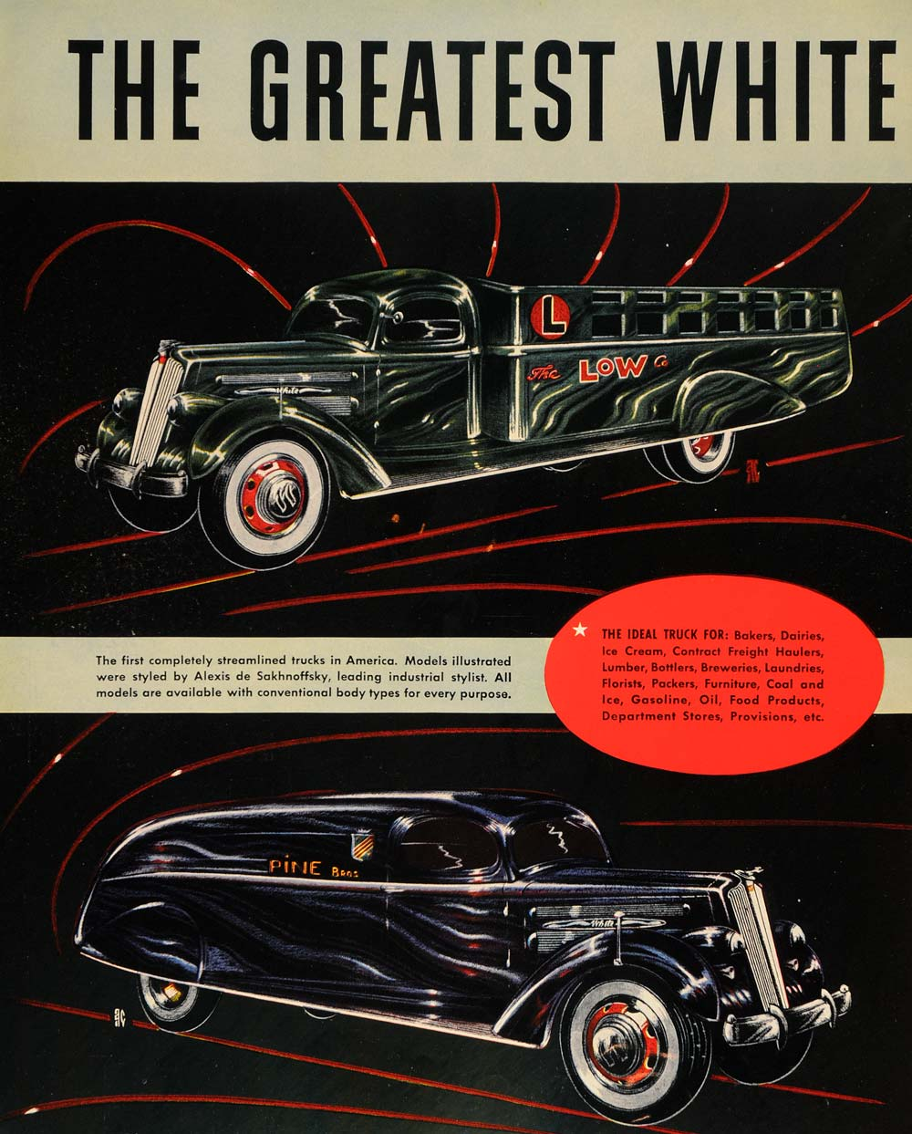 1935 Ad White Trucks Alexis De Sakhnoffsky Vehicle - ORIGINAL ADVERTISING F6A