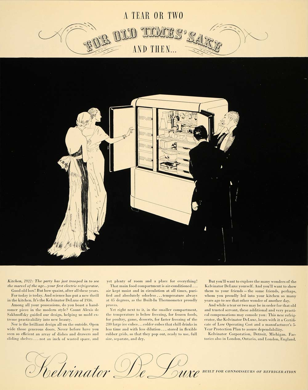 1936 Ad Kelvinator De Luxe Electric Refrigerator Home - ORIGINAL ADVERTISING F6A