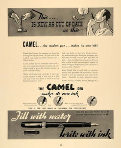 1936 Ad Camel Fountain Pen Ink Vintage Writing Utensils - ORIGINAL F6A