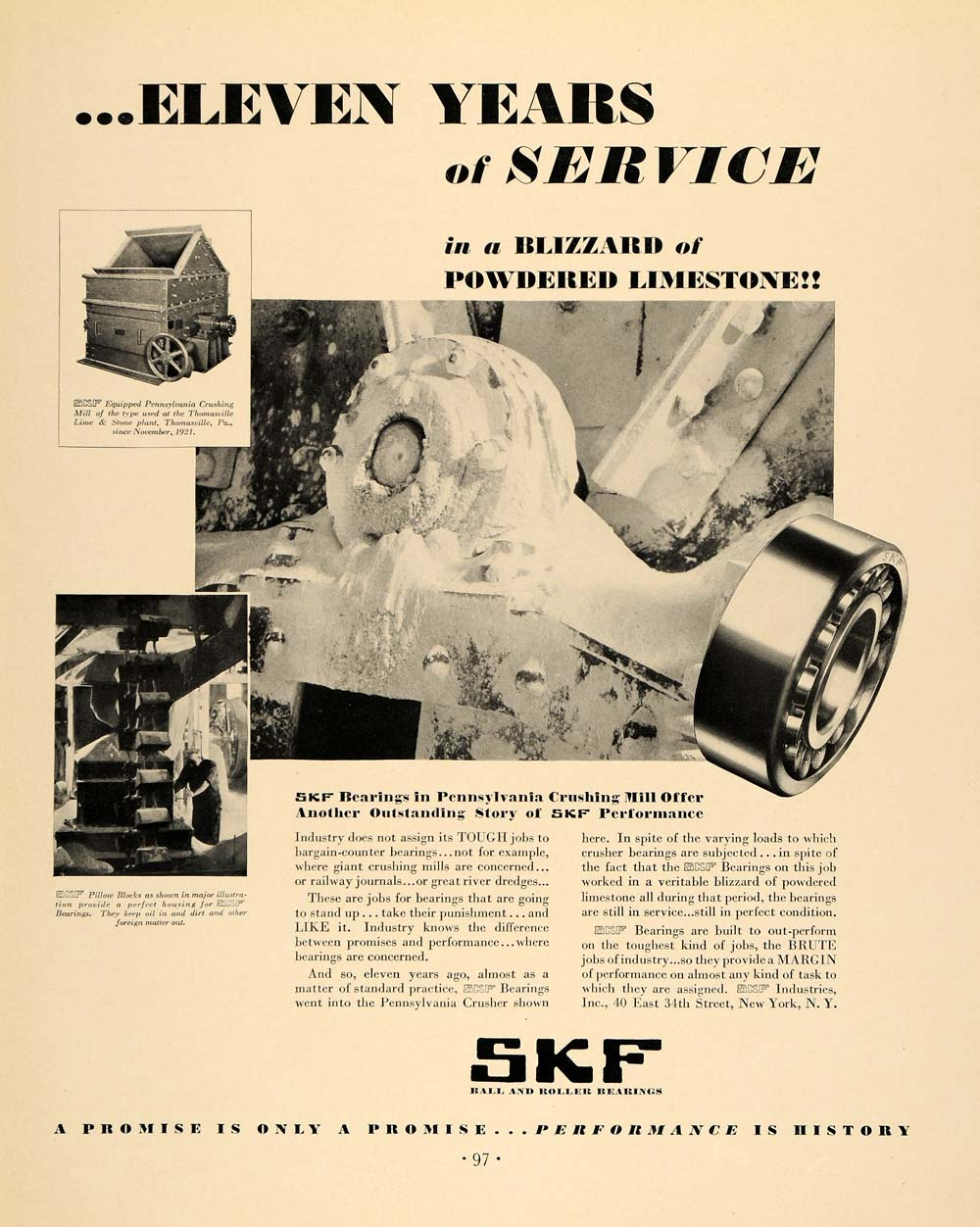 1932 Ad SKF Industry Ball Roller Bearings Crushing Mill - ORIGINAL F6A