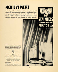 1932 Ad USS Stainless Heat Resisting Alloy Steels - ORIGINAL ADVERTISING F6A
