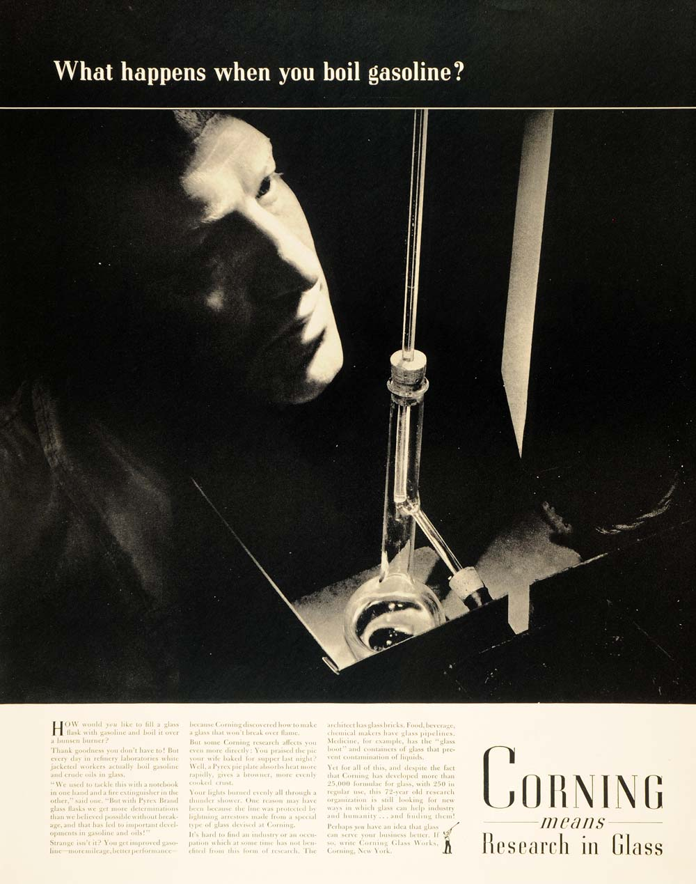 1940 Ad Corning Research Laboratory Glass Bottle Oil - ORIGINAL ADVERTISING F6A