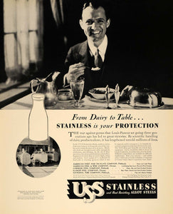 1933 Ad USS Stainless Heat Resist Steel Louis Pasteur - ORIGINAL ADVERTISING F6A